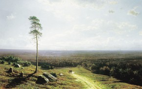 Wallpaper tree, picture, Lesnaya Dal at Noon, stone, Mikhail Klodt, landscape, road