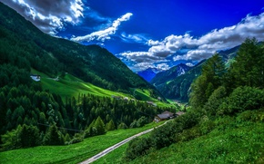 Picture greens, forest, the sky, clouds, trees, mountains, valley, Italy, houses, Bolzano