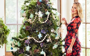 Wallpaper dress, Lauren Conrad, joy, new year, makeup, hairstyle, Lauren Conrad, tree, smile, toys, blonde, holiday