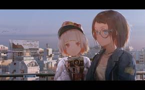 Picture the city, smile, girls, home, anime, art, glasses, cameras, novelance