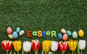 Picture letters, eggs, spring, Easter, tulips, Holiday