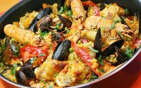 Picture figure, shrimp, seafood, shellfish, risotto