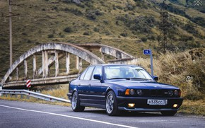 Picture grass, mountains, bridge, nature, lights, BMW, track, BMW, Japan, wheels, drives, old, Boomer, E34, low, …