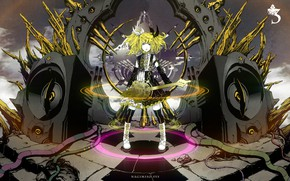 Picture girl, anime, art, blonde, Vocaloid, Vocaloid