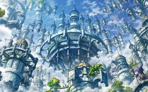 Picture the city, castle, anime, art