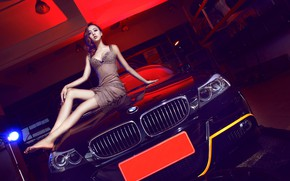 Picture look, Girls, BMW, Asian, beautiful girl, black car, sitting on the hood