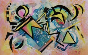 Picture blue, yellow, pink, black, triangles, oil, Figure, markers, gouache, Watercolor, acrylic, gel, pastel., Lena Horn