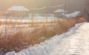 Picture winter, road, snow, nature, village, Sunny, winter evening, winter sun