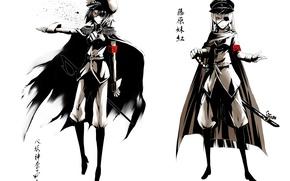 Picture katana, red eyes, cap, military uniform, saber, eye patch, black boots, Touhou Project, Fujiwara no …