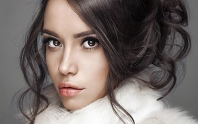 Picture look, girl, face, background, portrait, makeup, brunette, hairstyle, fur, beautiful, in white