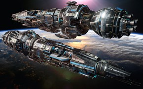 Picture planet, ships, Fractured Space, Legendary tier Destroyer skin, USR Ares