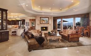 Wallpaper fireplace, luxury, sofa, furniture, living room