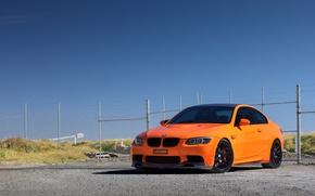 Picture the sky, orange, BMW, the fence, BMW, orange, e92