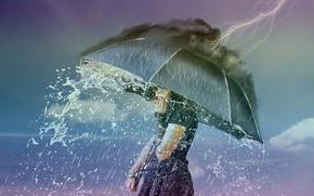 Wallpaper the situation, rain, girl, lightning, umbrella