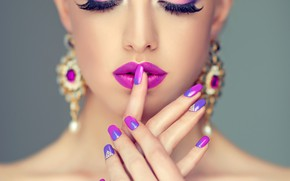 Picture girl, face, eyelashes, hands, makeup, lips, gesture, manicure, Sofia Zhuravets'