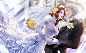 Picture girl, romance, art, guy, two, final fantasy xiv, Annie
