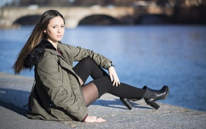 Picture look, model, jacket, legs, sitting, Giorgia