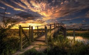 Wallpaper Bridge, Landscape, Sunset