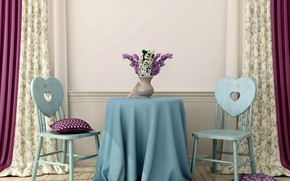 Picture table, room, chairs, interior, lilac