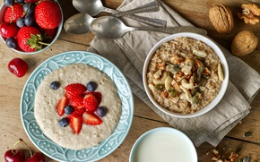 Picture berries, Breakfast, blueberries, nuts, breakfast, muesli, oatmeal