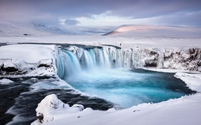 Picture river, waterfall, Iceland