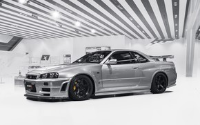 Picture GTR, Nissan, Classic, White, Skyline, R34, Silver