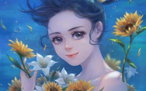 Picture water, girl, flowers, art, pai yu