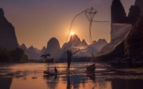 Wallpaper river, the sun, mesh, fisherman, birds, China
