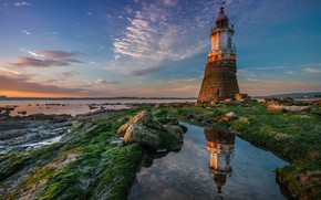 Picture reflection, river, coast, lighthouse, England, England, Lancashire, Lancashire, Abbey Lighthouse, River Lune, Plover Scar Lighthouse, …