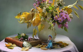 Picture leaves, girl, flowers, watch, still life, chrysanthemum, figure