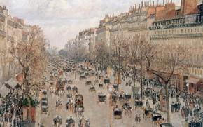 Picture people, street, home, picture, the urban landscape, Camille Pissarro, Boulevard Montmartre in Paris, Camille Pissarro