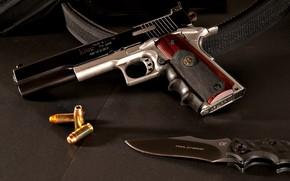Picture gun, weapons, tuning, knife, gun, cartridges, weapon, custom, custom, M1911, 1911, knife, M1911 pistol