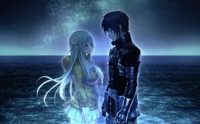 Picture water, girl, night, romance, anime, art, pair, guy, manga, Tokyo Necro