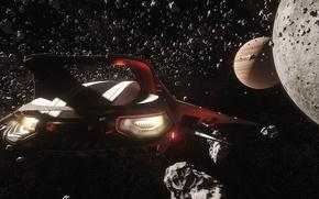 Picture stars, flight, fragments, planet, starship, Star Citizen