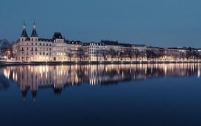 Picture house, lake, castle, Copenhagen, Peblinge Lake