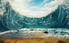 Picture sand, sea, wave, beach, shore, beach, sea, ocean, seascape, sand, wave