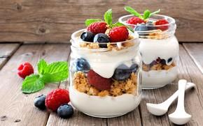 Picture berries, raspberry, blueberries, cereal, yogurt, Breakfast