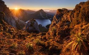 Wallpaper Australia, dawn, Lake Oberon, Australia, lake, Tasmania, mountains, morning