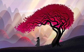 Picture art, leaves, tree, hills, man, artwork, Samurai, branches, kimono