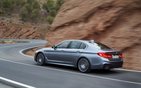 Picture asphalt, grey, markup, BMW, sedan, mountain road, 540i, 5, M Sport, four-door, 2017, 5-series, G30