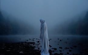 Wallpaper figure, sheet, river, fog