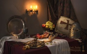 Picture style, apples, armor, candles, grapes, bones, fruit, still life, tray, garnet