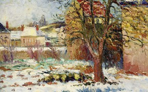 Picture landscape, house, tree, picture, Georges Henri Manzana Pissarro, Georges-Henri Manzana-Pissarro, The Snow Effect. Nesel