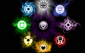Picture lights, love, life, symbol, will, death, fear, lanterns, hope, DC Comics, anger, compassion, greed, Sinestro …