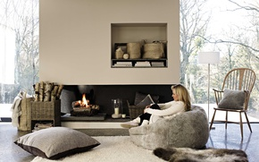 Picture girl, heat, chair, pillow, fireplace, cozy
