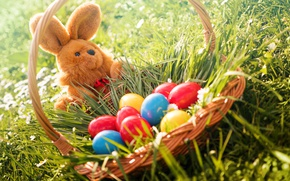 Picture grass, flowers, basket, rabbit, Easter, flowers, spring, Easter, eggs, bunny, decoration, basket, Happy, the painted …
