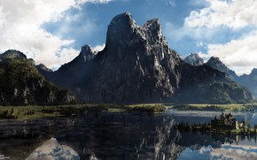 Picture mountains, reflection, castle, pond, North