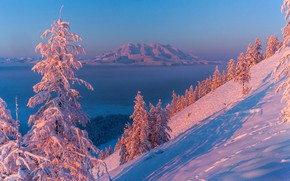 Picture winter, the sun, snow, mountains, lake