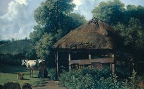 Picture landscape, oil, picture, Wouter Johannes van Troostwijk, Farm Gelderland