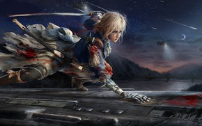 Picture girl, sword, anime, Violet Evergarden
